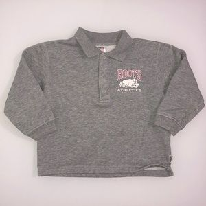 ROOTS Athletics Button Up Collared Sweatshirt Grey